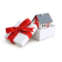 House in Box with Red Bow